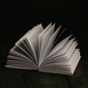 Eine Aufnahme von einem aufgeschlagenen Buch, dessen Seiten sich im Halbkreis aufblättern.